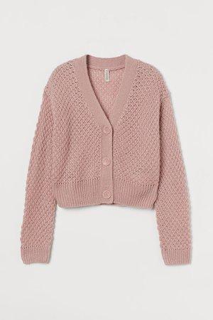 Moss-knit Cardigan - Pink