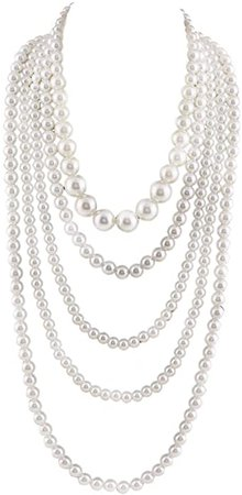Amazon.com: Grace Jun Multilayer Strand Chain White Faux Pearls Flapper Beads Cluster Long Choker Necklace(White): Clothing