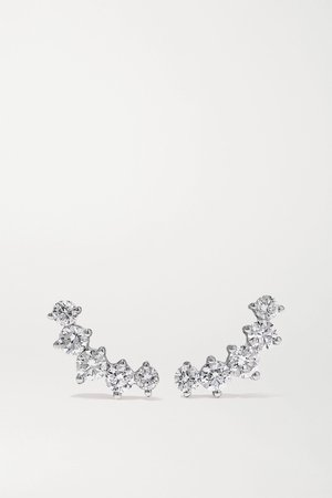 White gold Arc 18-karat white gold diamond earrings   Anita Ko   NET-A-PORTER