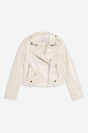 Patent Crocodile PU Jacket | Topshop white