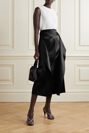 Black Okif layered hammered-satin midi skirt | The Row | NET-A-PORTER