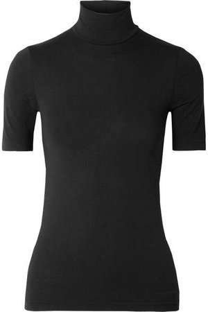 Aurora Modal-blend Jersey Turtleneck Top - Black