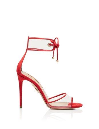 AQUAZZURA - Optic Sandal 105 - CARNATION RED - SUEDE LEATHER/PVC