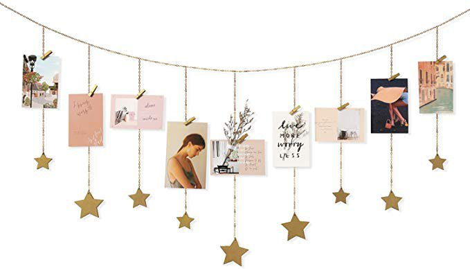 Amazon.com: Mkono Hanging Photo Display Wood Stars Garland with Chains Picture Frame Collage with 30 Wood Clips Wall Art Decoration for Home Office Nursery Room Dorm New Year Holiday Card Display,Gold: Home & Kitchen