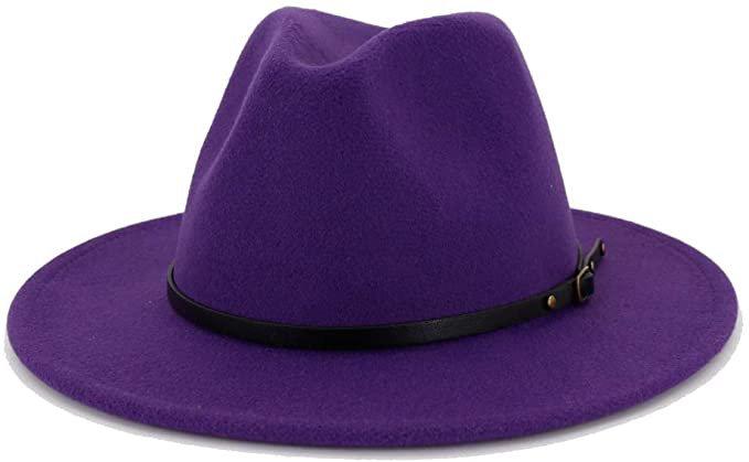 Lisianthus Women Belt Buckle Fedora Hat (Purple) at Amazon Women's Clothing store