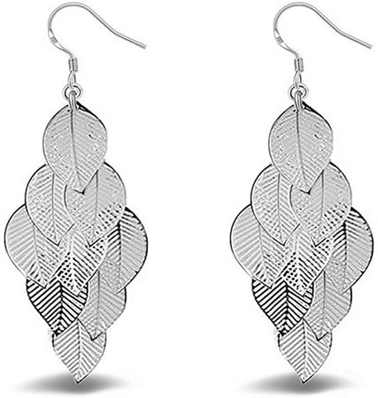 Amazon.com: CrownUS Unique Boho 9 Leaves Long Dangle Earrings with Fishhook for Women Girls, Silver: Clothing