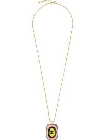 Chanel Pre-Owned 2003 rectangular CC pendant long necklace