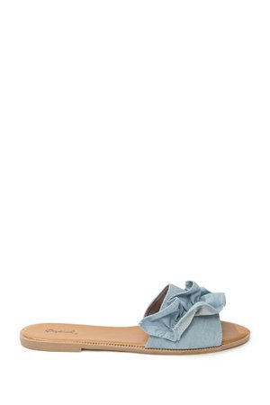 Qupid Denim Ruffle Slide Sandals | Forever 21