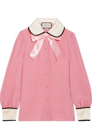Gucci | Faux pearl and bow-embellished silk crepe de chine shirt | NET-A-PORTER.COM