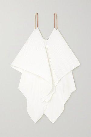 Loewe | Leather-trimmed plissé-crepe camisole | NET-A-PORTER.COM
