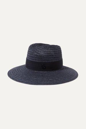Navy Virginie grosgrain-trimmed straw hat | Maison Michel | NET-A-PORTER