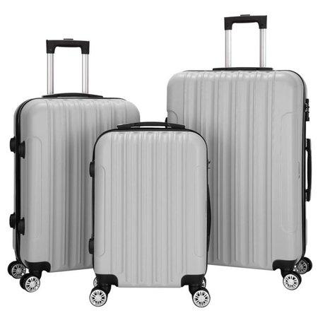 Zimtown - 3PCS Luggage Travel Set Bags ABS Trolley Hard Shell Suitcase W/TSA lock With 4 Wheels Multi-Colored - Walmart.com - Walmart.com