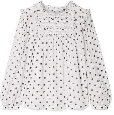 Bailey Lace And Tulle Trimmed Polka-dot Voile Blouse - White
