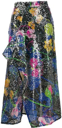 Ainea Draped Sequinned Skirt