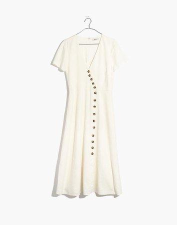 Linen-Blend Button-Wrap Midi Dress