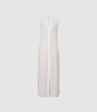 Havanna White Resort Sleeveless Shirt Dress – REISS