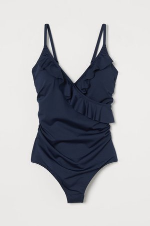Flounced Shaping Swimsuit - Blue