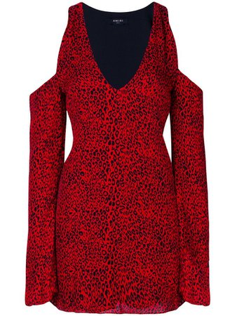 AMIRI Printed Silk Dress With Cold-shoulders In Red