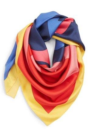 Tory Burch Colorblock Logo Silk Scarf | Nordstrom