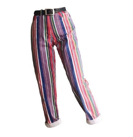 colorful striped pants