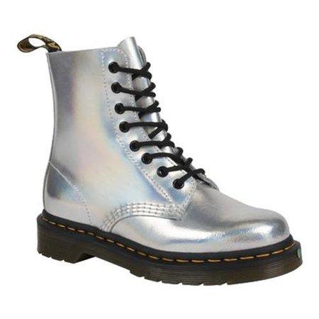 Shop Dr. Martens Pascal 8-Eye Boot Silver Lazer Reflective Metallic Leather - Ships To Canada - - 18910599