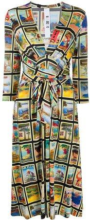 tie waist print dress
