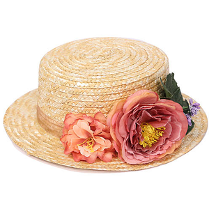Beige Floral Straw Boater for $15.00 available on URSTYLE.com