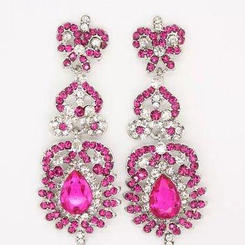 ~Hot Pink Diamond Earrings~