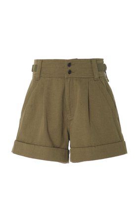 Current/Elliott Relaxed Army Utility Cotton-Linen Shorts Size: 25