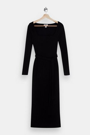 Black Jersey Midi Ribbed Belted Midi Dress | Topshop