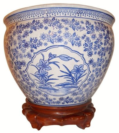 Asian Floral Blue and White Porcelain Fishbowl For Indoor or   Etsy