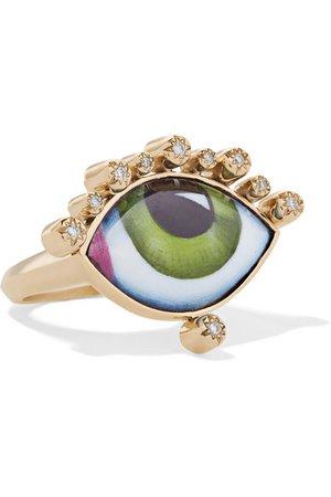 Lito | Tu Es Partout 14-karat gold, enamel and diamond ring | NET-A-PORTER.COM
