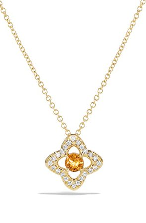 David Yurman Venetian Quatrefoil Necklace with Diamonds in 18K Gold | Nordstrom