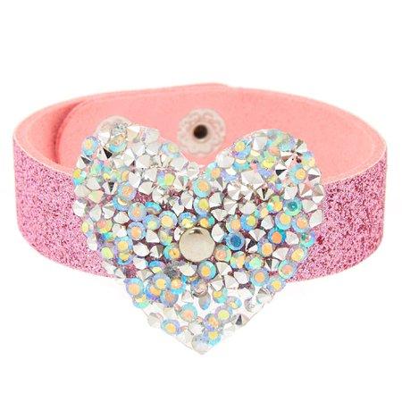 Embellished Heart Glitter Statement Bracelet - Pink   Claire's US