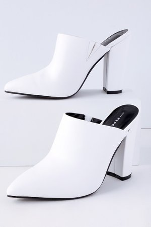 Report Finch - White Mules - Pointed Toe Mules