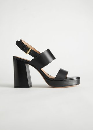 Leather Block Heeled Platform Sandals