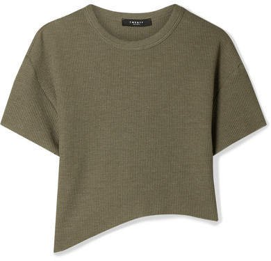 TWENTY Montréal - Everest Cropped Asymmetric Waffle-knit Jersey T-shirt - Army green
