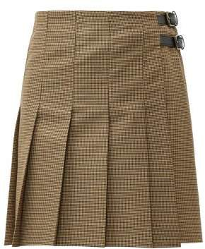 Pleated Wool Blend Houndstooth Mini Skirt - Womens - Brown
