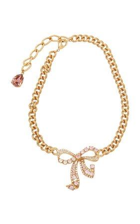 Bow-Embellished Brass Choker Necklace by Dolce & Gabbana | Moda Operandi