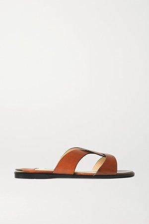 Atia Leather Slides - Tan