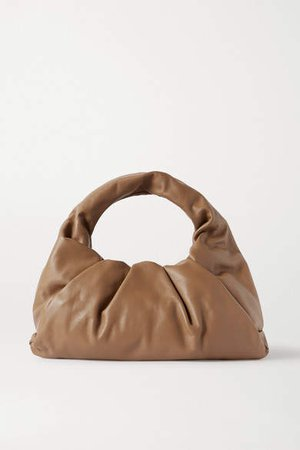 The Shoulder Pouch Gathered Leather Bag - Light brown
