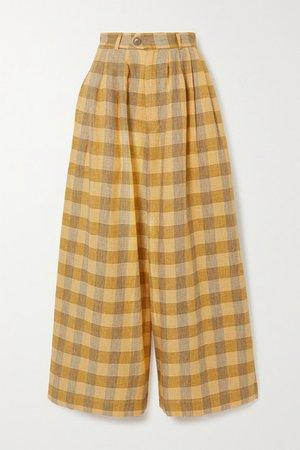 Checked Linen Wide-leg Pants - Yellow