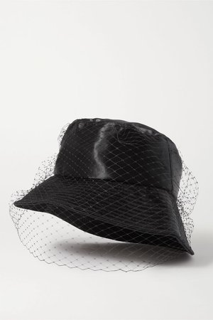 Black Elaine satin and mesh bucket hat | Jennifer Behr | NET-A-PORTER