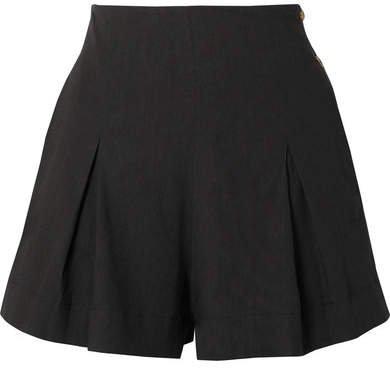 Pleated Linen-blend Shorts - Black