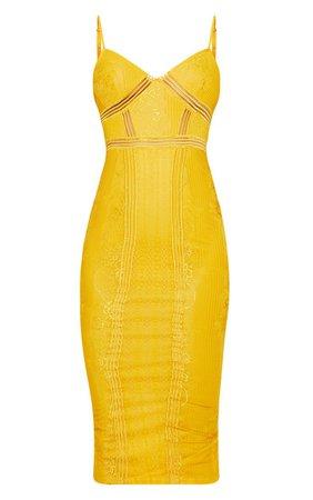 Black Lace Mesh Stripe Insert Midi Dress | PrettyLittleThing USA