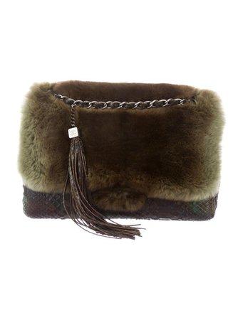 Chanel Fur-Trimmed Python Flap Bag - Handbags - CHA328111   The RealReal