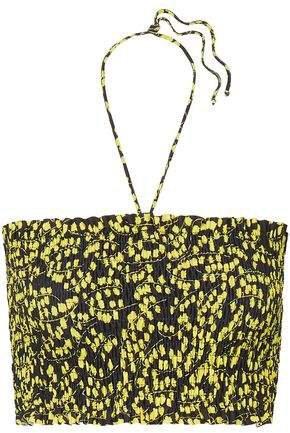 Shirred Floral-print Bikini Top
