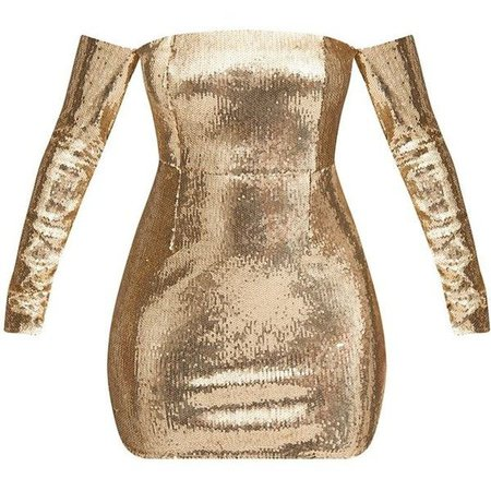 gold dress polyvore long sleeve - Buscar con Google