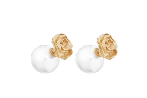DIOR TRIBALES EARRINGS Gold-Finish Metal and White Resin Pearls