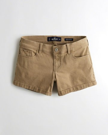Hollister Shorts Online - Buy Hollister Khaki Low-rise Twill Midi Shorts For Womens Online India
